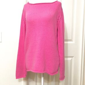 Lilly Pulitzer Sweater Open Knit Pink Medium Top